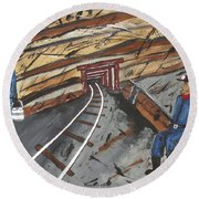 Round Beach Towel featuring the painting  Coal Miners by Jeffrey Koss