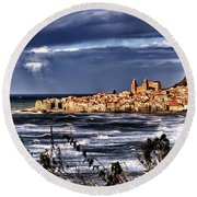 Old Coastal City  Round Beach Towel