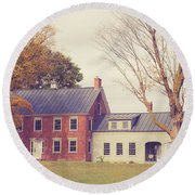 Old Colonial Farm House Vermont Round Beach Towel by Edward Fielding