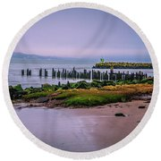 Round Beach Towel featuring the photograph Old Columbia River Docks by Bryan Carter