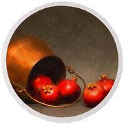 Old Copper Pot With Pomegranates Round Beach Towel