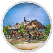 Round Beach Towel featuring the painting Old Cottage by Andrzej Szczerski