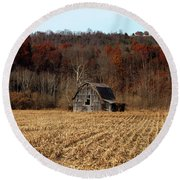 Old Country Barn In Autumn #1 Round Beach Towel