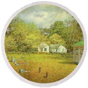 Old Country Church Round Beach Towel by Lewis Mann
