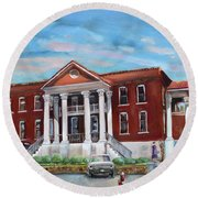 Round Beach Towel featuring the painting Old Courthouse In Ellijay Ga - Gilmer County Courthouse by Jan Dappen