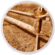 Old Cowboy Hat On Fence - Sepia Round Beach Towel