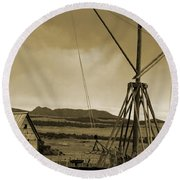 Old Crane And Shed Utah Countryside In Sepia Round Beach Towel