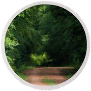 Round Beach Towel featuring the photograph Old Dirt Road by Shelby Young