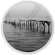 Old Dock  Round Beach Towel