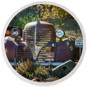 Old Dodge Rust Bucket Round Beach Towel