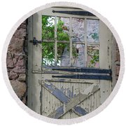 Round Beach Towel featuring the photograph Old Door From Bridgetown Millhouse Bucks County Pa by Bill Cannon