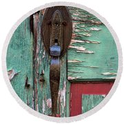 Round Beach Towel featuring the photograph Old Door Knob 2 by Joanne Coyle