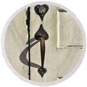 Round Beach Towel featuring the photograph Old Door Knob 3 by Joanne Coyle