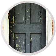 Old Door Round Beach Towel by Zawhaus Photography