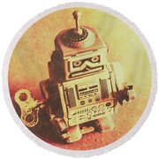 Old Electric Robot Round Beach Towel