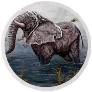 Old Elephant Round Beach Towel by Judy Kirouac
