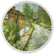 Round Beach Towel featuring the painting Old English Cottage by Teresa White