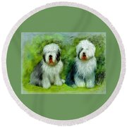 Old English Sheepdog Round Beach Towel
