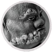 Old Face, Statue Round Beach Towel