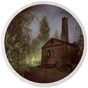 Old Factory Ruins Round Beach Towel