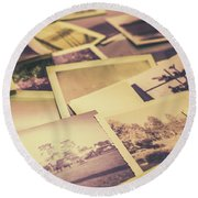 Old Faded Film Photography Round Beach Towel