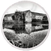 Old Farm And Pond In France Round Beach Towel