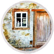 Old Farm House Round Beach Towel by Sher Nasser