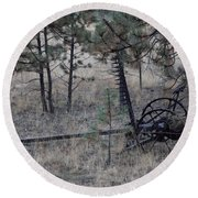 Old Farm Implement Lake George Co Round Beach Towel