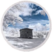 Old Farm Shed IIi Round Beach Towel