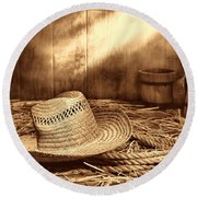 Old Farmer Hat And Rope Round Beach Towel