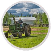 Old Farmer Old Tractor Old Dog Round Beach Towel