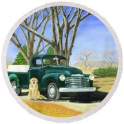 Old Farmhands Round Beach Towel