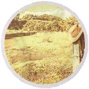 Old Farming Landscape Round Beach Towel
