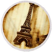 Old Fashion Eiffel Tower Souvenir Round Beach Towel