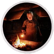 Old-fashioned Blacksmith Heating Iron Round Beach Towel