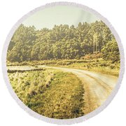 Old-fashioned Country Lane Round Beach Towel