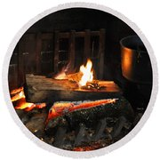 Old Fashioned Fireplace Round Beach Towel