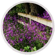 Old Fence And Purple Flowers Round Beach Towel
