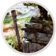 Round Beach Towel featuring the photograph Old Fence Post Orchard by Janine Riley
