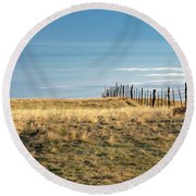 Old Fence Round Beach Towel