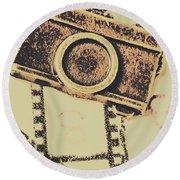 Old Film Camera Round Beach Towel