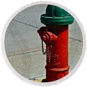 Old Fire Hydrant Round Beach Towel