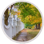 Old First Church Fence Round Beach Towel