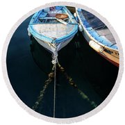 Old Fishing Boats Of The Adriatic Round Beach Towel