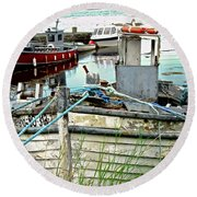 Old Fishing Boats Round Beach Towel by Stephanie Moore