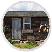 Old Fishing  Houses  Round Beach Towel