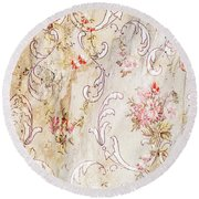 Round Beach Towel featuring the photograph Old Flowered Wallpaper by Sue Smith