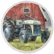 Old Ford Tractor Colored Pencil Round Beach Towel