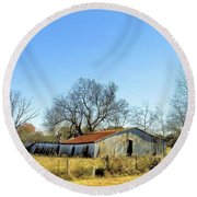 Round Beach Towel featuring the photograph Old Forgotten Barn Near Paris Texas by Janette Boyd