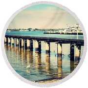 Old Fort Myers Pier With Ibises Round Beach Towel
